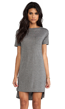 T by Alexander Wang Boatneck Dress Mini Pocket in Heather Grey