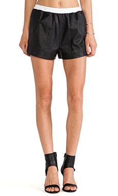 T by Alexander Wang Lamb Leather Shorts in Black
