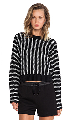 T by Alexander Wang Chunky Cotton Dolman Long Sleeve Pullover in Black & White