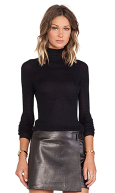 T by Alexander Wang Fitted Turtleneck in Black