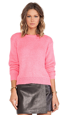 T by Alexander Wang Mohair Half Cardigan Pullover in Rave