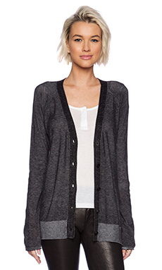 T by Alexander Wang Viscose Blend Plaited Cardigan in Black & White
