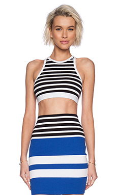 T by Alexander Wang Engineer Stripe Sports Bra in Black & White