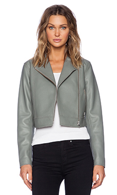 T by Alexander Wang Pebbled Leather Classic Motorcycle Jacket in Lichen