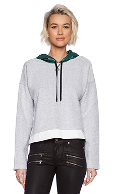 T by Alexander Wang French Terry Sweatshirt with Hood in White
