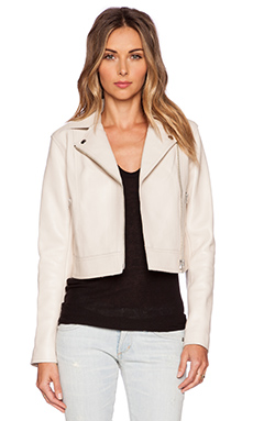 T by Alexander Wang Pebbled Leather Moto Jacket in Ecru