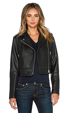 T by Alexander Wang Pebbled Leather Moto Jacket in Black