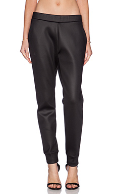 T by Alexander Wang Shiny Bonded Fleece Sweatpants in Black