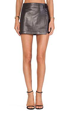 T by Alexander Wang Leather Wrap Skirt in Black