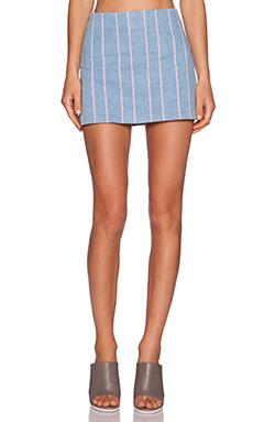 T by Alexander Wang Stripe Denim Mini Skirt in Light Indigo
