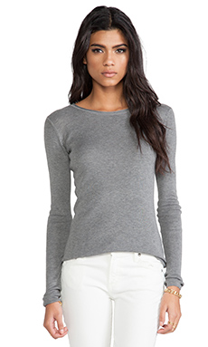 T by Alexander Wang Fitted Knit Long Sleeve Pullover in Heather Grey