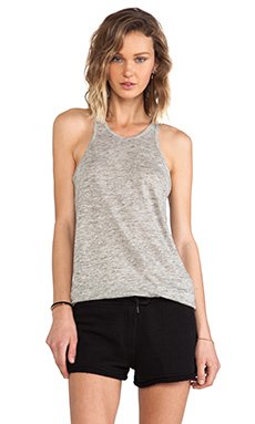 T by Alexander Wang Linen Jersey Classic Tank in Light Heather Grey
