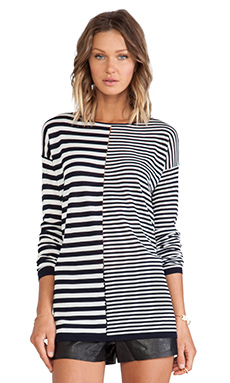 T by Alexander Wang Light Long Sleeve Knit Top in Ink & Ivory