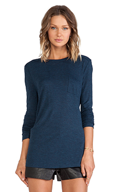 T by Alexander Wang Classic Long Sleeve Tee With Pocket in Shadow