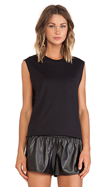 T by Alexander Wang Muscle Tee with Pocket in Black