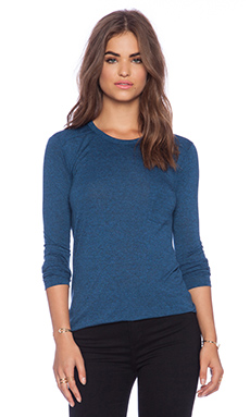 T by Alexander Wang Classic Long Sleeve Tee with Pocket in Marine