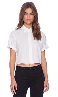 T by Alexander Wang Ripstop Poplin Short Sleeve Cropped Shirt in White