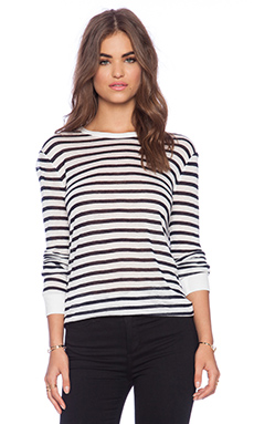 T by Alexander Wang Stripe Rayon Linen Long Sleeve Tee in Navy & White