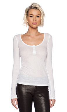 T by Alexander Wang Soft Melange Rib Henley Long Sleeve Top in White
