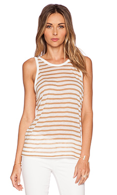 T by Alexander Wang Stripe Rayon Linen Tank in Off White & Trench