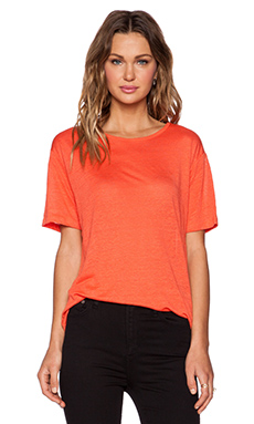 T by Alexander Wang Linen Silk Jersey Oversized Tee in Coral