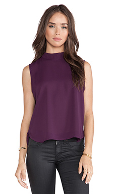 Three Eighty Two Quinn Mockneck Tank in Eggplant
