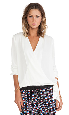 Three Eighty Two Stella Surplice Blouse in Ivory