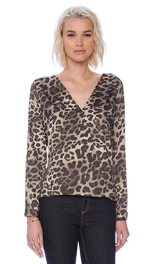 Three Eighty Two Sienna Surplice Top in Leopard