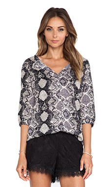 Three Eighty Two Madison Peasant Top in Shadow