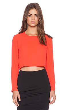 Three Eighty Two Ella Cropped Long Sleeve Top in Tomato