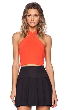 Three Eighty Two Ava Cropped Halter in Tomato