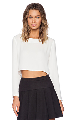 Three Eighty Two Ella Cropped Long Sleeve Top in Ivory