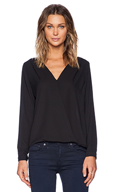 Three Eighty Two Sienna Surplice Top in Black