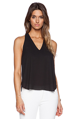 Three Eighty Two Owen V Racerback Top in Black