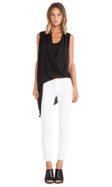 Three Eighty Two Hudson Asymmetrical Drape Double Layer Tank in Black