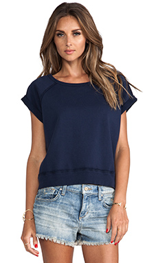 TEXTILE Elizabeth and James Short Sleeve Perfect Sweatshirt in Navy