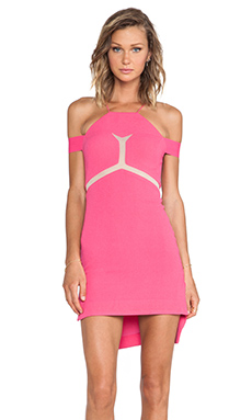 Three Floor Kix Mini Dress on Hot Pink & Nude