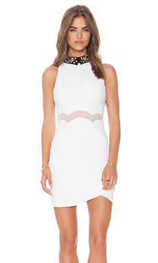 Three Floor Be Jeweled Dress in White & Black
