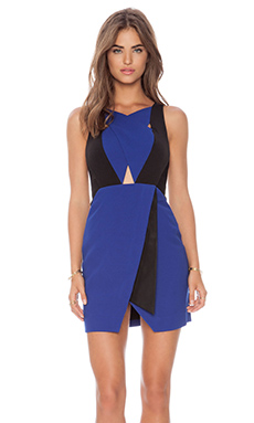 Three Floor Sweet Blue Dress in Klein Blue & Black