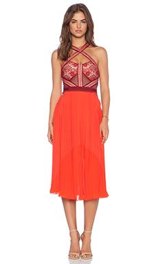 Three Floor True Romance Dress in Bordeaux & Lipstick Red