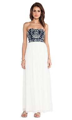 TFNC London Amber Strapless Maxi in Navy & White