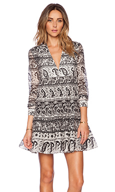 Thakoon Addition V Neck Dress in Black Multi