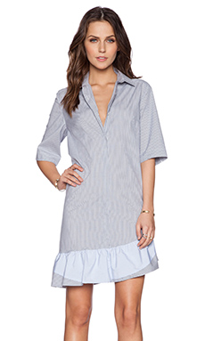 Thakoon Striped Shirt Dress in Grey & White