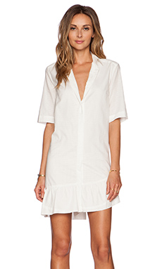Thakoon Ruffle Hem Shirt Dress in White