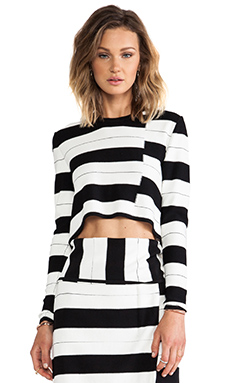 Thakoon Addition Staggered Stripe Pullover in Black Multi