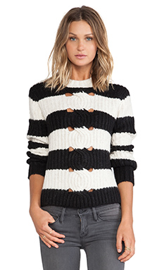 Thakoon Addition Striped Pullover in Black & Ivory