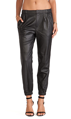 Thakoon Addition Perforated Leather Joggers en Noir