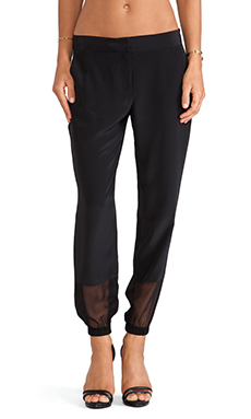 Thakoon Addition Sheer Inset Trouser in Black