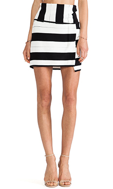 Thakoon Addition Staggered Stripe Skirt in Black Multi