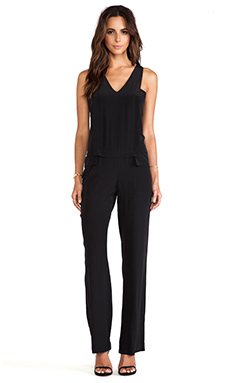 Thakoon Addition V Neck Layered Jumpsuit in Black